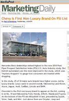 MediaPost Marketing Daily Chevy Is First Non-Luxury Brand On PSI List