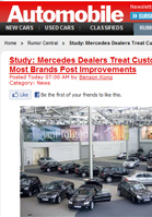 Automobile Magazine Study: Mercedes Dealers Treat Customers Best, Most Brands Post Improvements