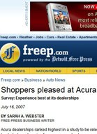 Detroit Free Press Shoppers Pleased at Acura