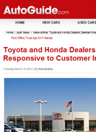AutoGuide.com Toyota and Honda Dealers Deemed Most Responsive to Customer Inquiries