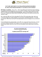 Press Release: VICTORY MOTORCYCLE DEALERS RANKED HIGHEST BY 2011 PIED PIPER PROSPECT SATISFACTION INDEX(R)
