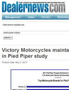 Dealernews Victory Motorcycles maintains No. 1 ranking in Pied Piper study