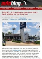 Autoblog.com REPORT: Acura dealers treat customers best whether or not they buy