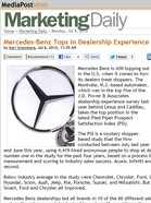 Media Post Marketing Mercedes-Benz Tops In Dealership Experience