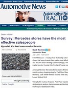 Automotive News Survey: Mercedes stores have the most effective salespeople