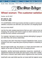 New Jersey Star Ledger Ann M. Job - Wheel Woman: The customer satisfaction guessing game
