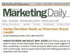 Media Post's Marketing Daily Harley-Davidson Ranks as Showroom Brand Leader