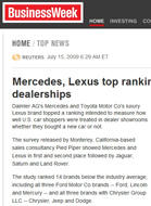 BusinessWeek Mercedes, Lexus top ranking of U.S. dealerships
