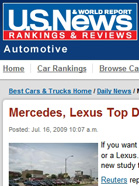 U.S. NEWS & WORLD REPORT Mercedes, Lexus Top Dealership Experience Survey